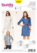 6760 Burda Pattern: Misses' Button Front Shirt Dress, Tunic and Jacket